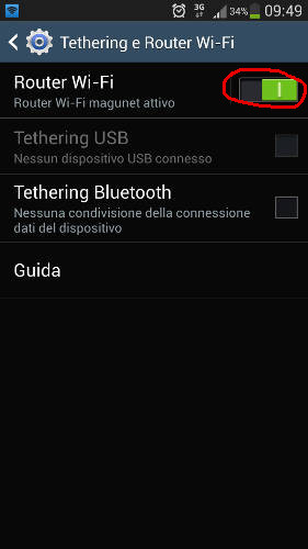 abilita tethering router wi-fi